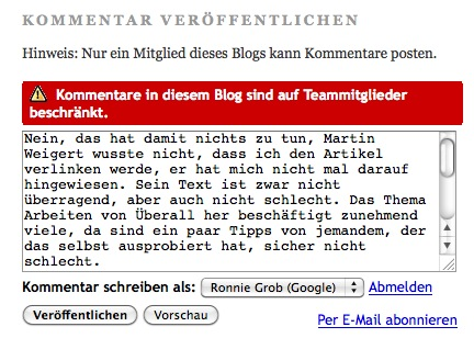 Screenshot nureinefrage.blogspot.de